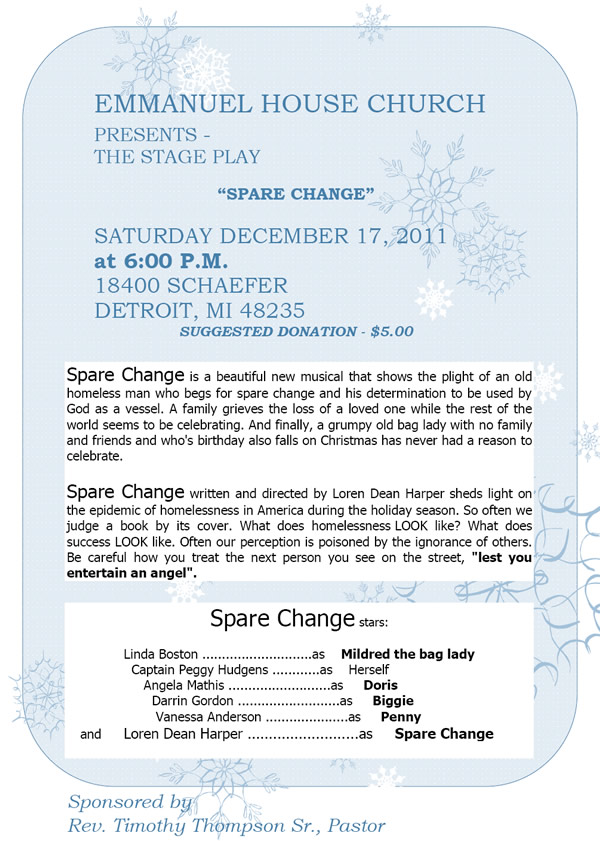 DEC 17: Emmanuel House Church presents SPARE CHANGE