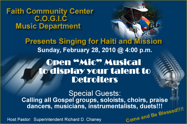 Singing for Haiti and Mission