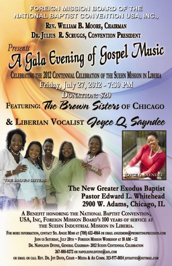 Join The Brown Sisters, Liberian Vocalist Joyce Q Sayndee and more for A Gala Evening of Gospel Music