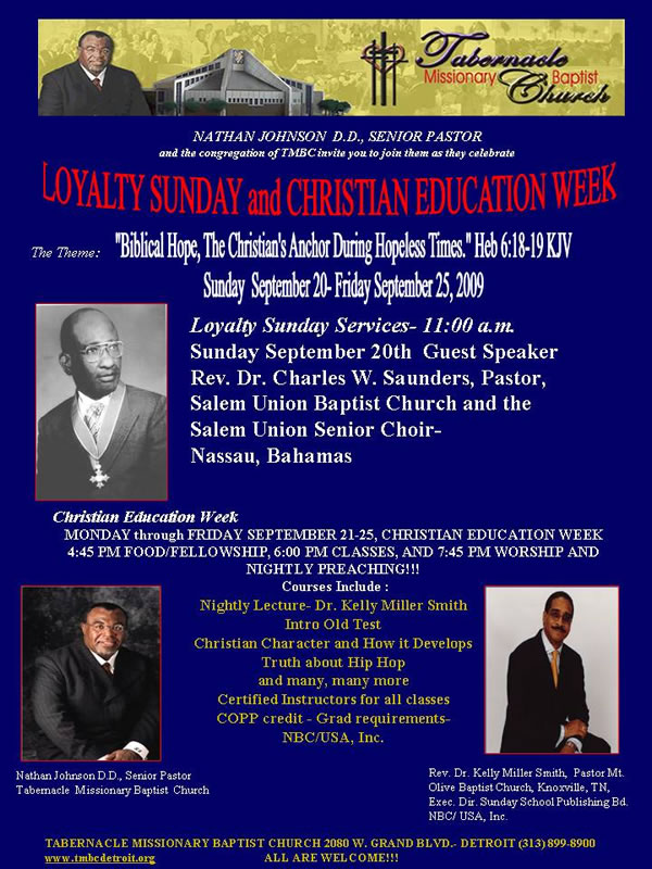 Loyalty Sunday and Christian Ed Week