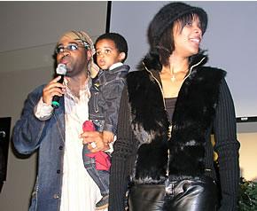 J Moss, Wife Melanie, and son